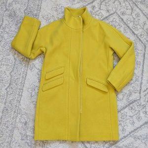 J Crew Stadium Cloth Cocoon Coat in Chartreuse